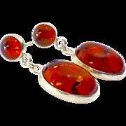Baltic Golden Amber Sterling Silver Drop Earrings