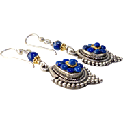 Vintage Lapis and Silver Pendants and Lapis Drop Earrings