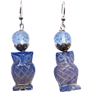 Carved Blue Agate Owl Drop Earrings