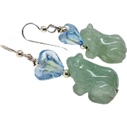 Carved Green Aventurine Frogs Drop Earrings