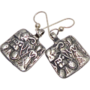 Vintage Silver Indian Pendants of Hanuman and a Goddess Drop Earrings