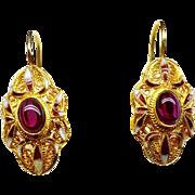 Vintage Garnet and 18k Gold Vermeil Drop Earrings
