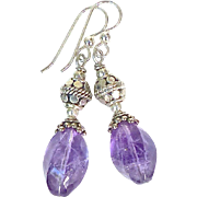 Faceted Amethyst, Sterling Silver Drop Earrings