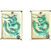 Carved Green Bone Dragon Button Earrings