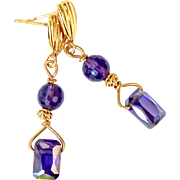 Purple Cubic Zirconium, Faceted Amethyst Drop Earrings
