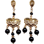 Black Onyx Drop Chandelier Earrings
