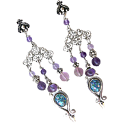 Opal, Amethyst Drop Chandelier Earrings