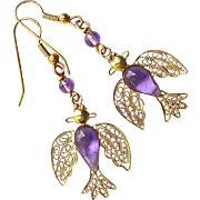 Gold Vermeil Filigree Birds with Amethyst Drop Earrings