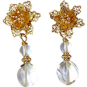 Chrystal with 18k Gold Vermeil Flower Post Drop Earrings