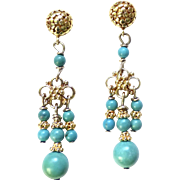 Natural Chinese Turquoise Drop Chandelier Earrings