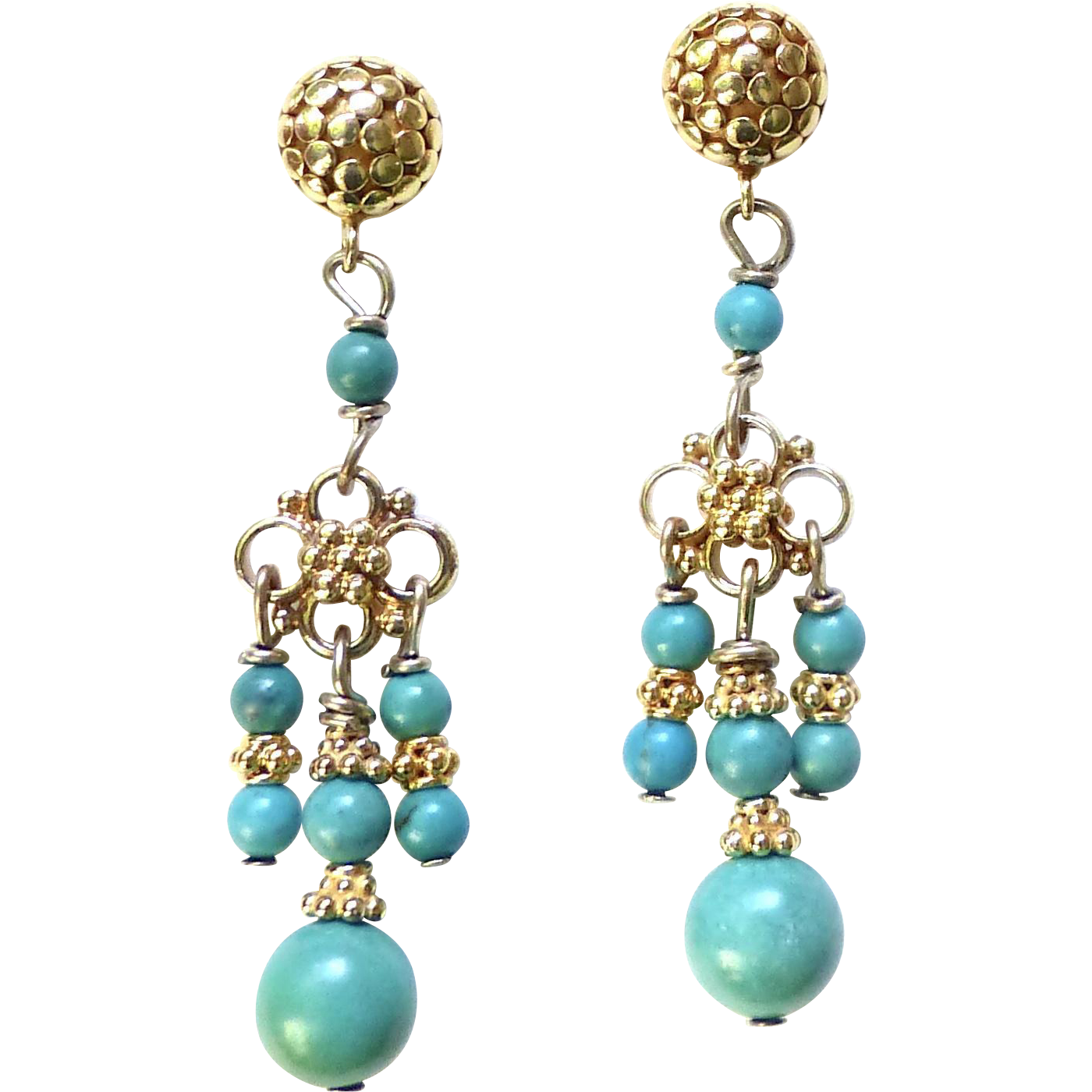 Natural chinese turquoise drop chandelier earrings from natural chinese turquoise drop chandelier earrings mozeypictures Choice Image