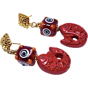 Carved Red Cinnabar Fish, Glass Lamp Work Bead, Drop Earrings