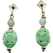 Carved Natural Green Jade, 14k Gold Drop Earrings