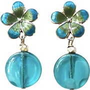 Vintage German Glass with Turquoise Enameled Flower Post Drop Earrings