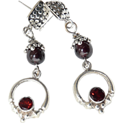 Red Garnet, Sterling Silver Drop Earrings