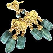 Vintage German Glass Drop Chandelier Earrings