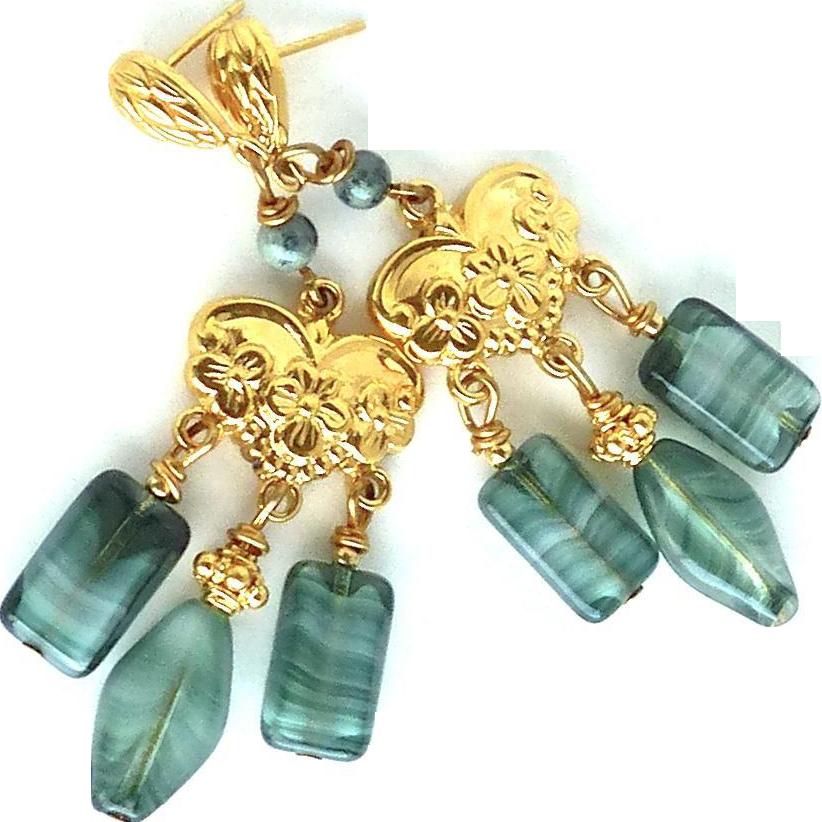Vintage German Glass Drop Chandelier Earrings from ...