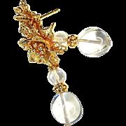 Crystal 18k Gold Flower Post Drop Earrings