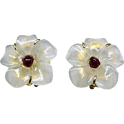 Natural Jade Flower with a Garnet Center Button Pierced Earrings