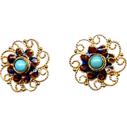 Vintage Turquoise and Enameled 18k Gold Filigree Post Button Earrings