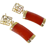 Vintage Carnelian and 14k Gold Drop Earrings