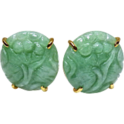 Carved Natural Green Jade Lotus Pierced Button Earrings