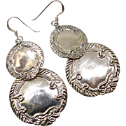 Large Vintage Sterling Silver Luggage Tag Drop Earrings