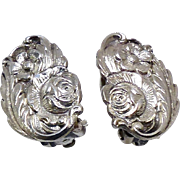 Vintage Repousse Floral S. Kirk and Son Sterling Silver Clip Earrings 1940's