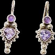 Amethyst and Silver Drop Earrings