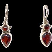 Red Garnet and Silver Drop Earrings