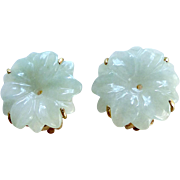 Carved Green Jade Flower Button Earring