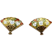 Vintage Chinese Gold Enameled Fan Button Earrings for Pierced Ears