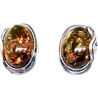 Vintage Baltic Amber and Silver Button Earrings