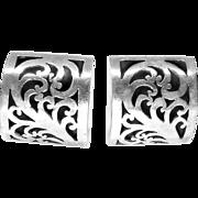 Vintage Silver Button Clip Earring