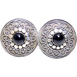 Vintage Indonesian Silver and Garnet Clip Earrings
