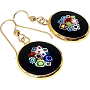 Murano Millefiori Glass Pendant Drop Earrings
