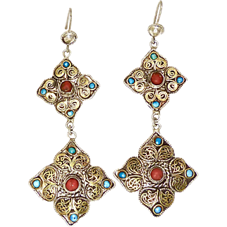 Vintage Indonesian Silver, Gold Vermeil Turquoise and Coral Drop Earrings