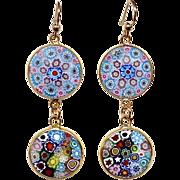 Murano Millefiori Glass Pendant Drop Earrings