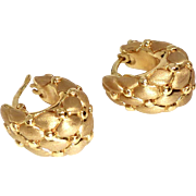 Vintage Italian 14k Gold Pebble Design Hoop Earrings