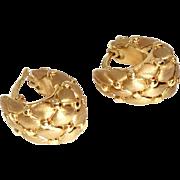 Vintage Italian 14k Gold Pebble Design Hoop Earrings