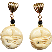 Carved Bone Rabbits Drop Earrings