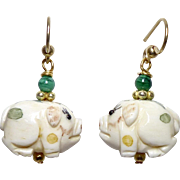Carved Bone Pigs, Green Malachite Drop Earrings