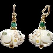 Carved Bone Pigs, Green Malachite Drop Earrings