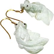 Hand Carved Light Green Jade Fish Drop Earrings
