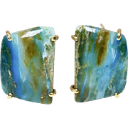 Turquoise Peruvian Opal Button Earrings