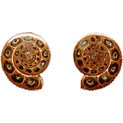 Ammonite Pierced Button Earrings