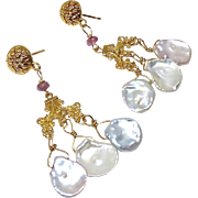 White Keishi Petal Pearl, Tourmaline Chandelier Drop Earrings