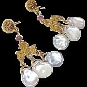 White Keishi Petal Pearl, Tourmaline Chandelier Drop Earrings