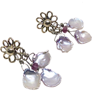 Pink Keishi Petal Pearl Drop Earrings