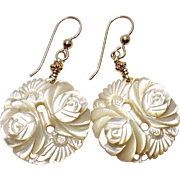 White Mother of Pearl Flower Drop Earrings